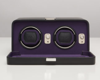 Wolf Windsor Purple Double Watch Winder with Cover
