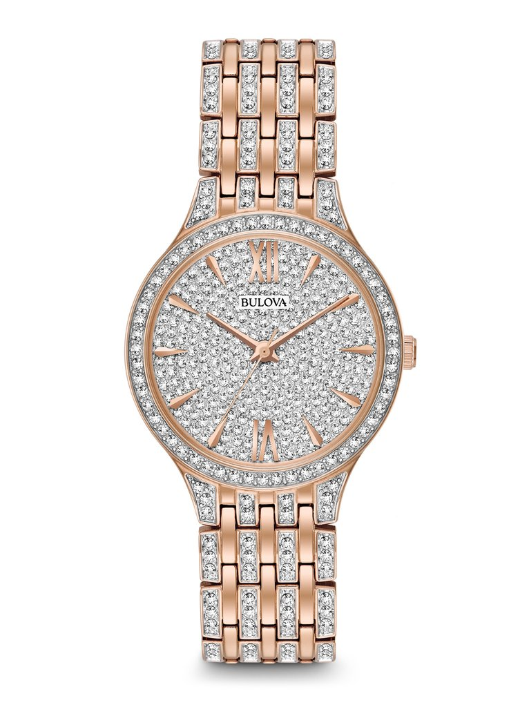 Bulova women 39 s crystal watch 98l235 clock doctor for Watches zales