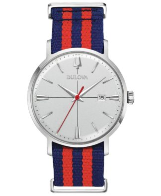 Bulova Aerojet Blue & Red Strap Watch 96B314
