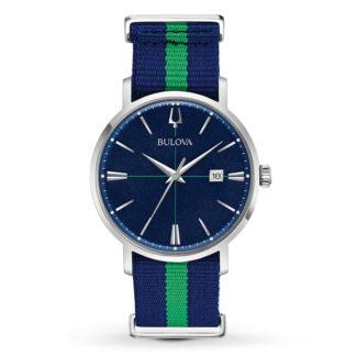 Bulova Aerojet Blue & Green Strap Watch 96B316